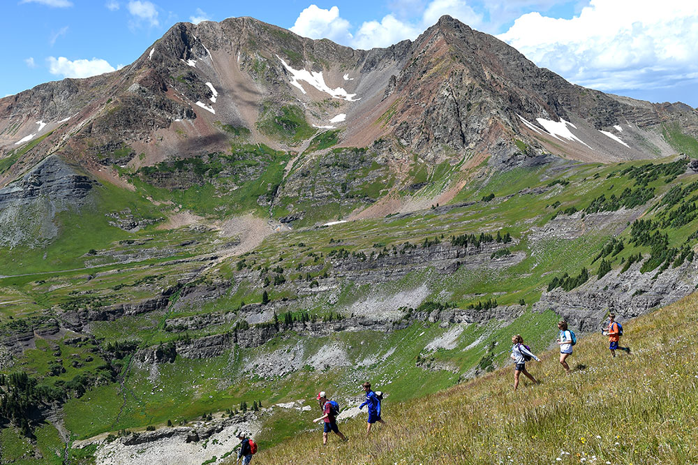 A hiking group in Crested Butte