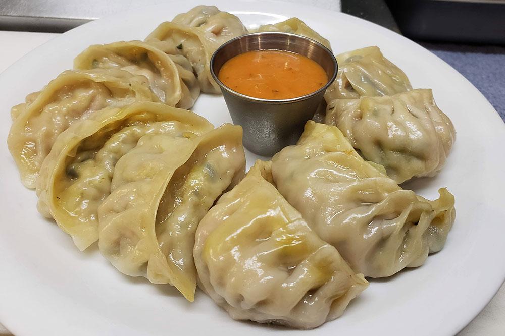 <i>Momos,</i> traditional Tibetan dumplings, from Sherpa Cafe