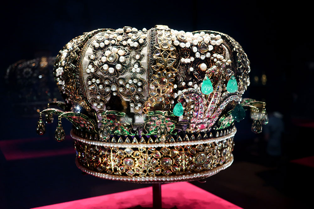 A crown given to the Prince of Wales in 1876 at the Queen's Gallery at Buckingham Palace