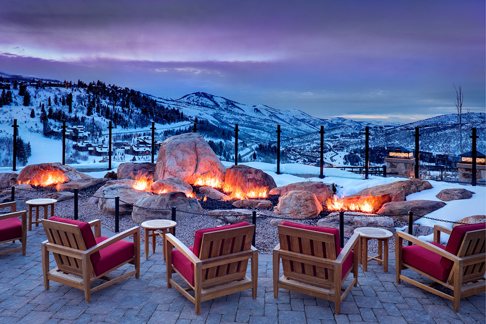 Fire pits outside Rime restaurant at The St. Regis Deer Valley