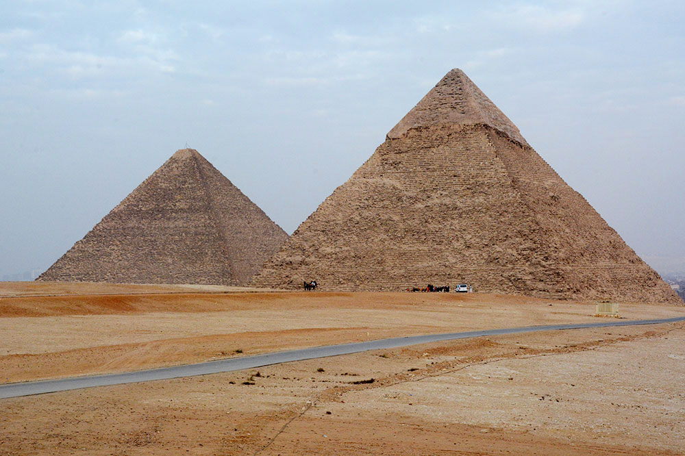 The pyramids in the desert of Giza