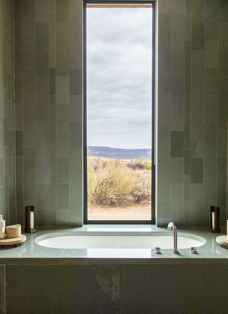 The bath of our Desert View Suite at Amangiri
