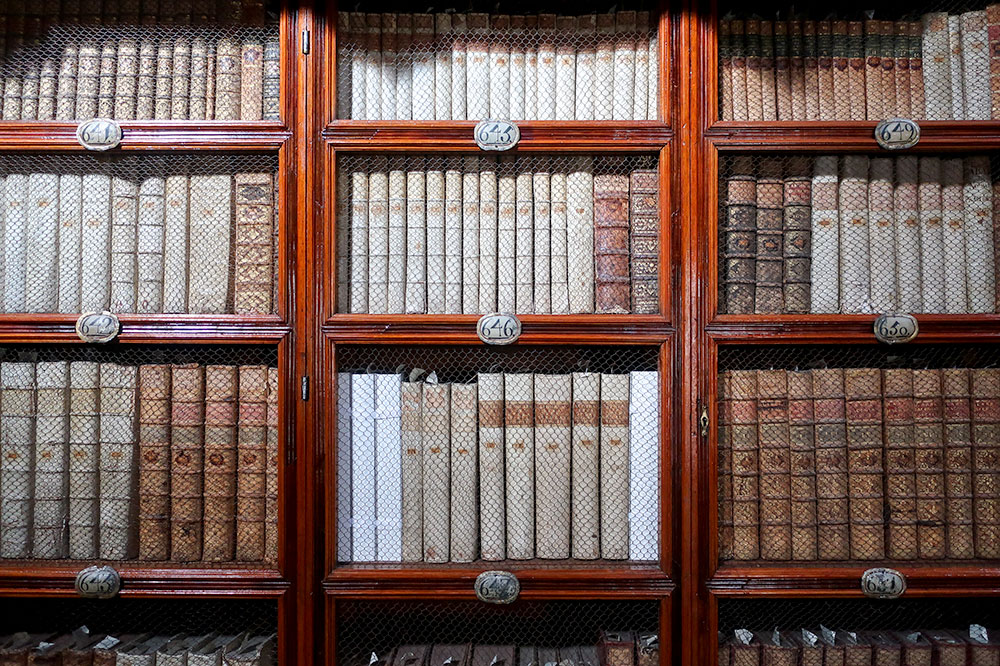 Detail of books at Biblioteca Palafoxiana