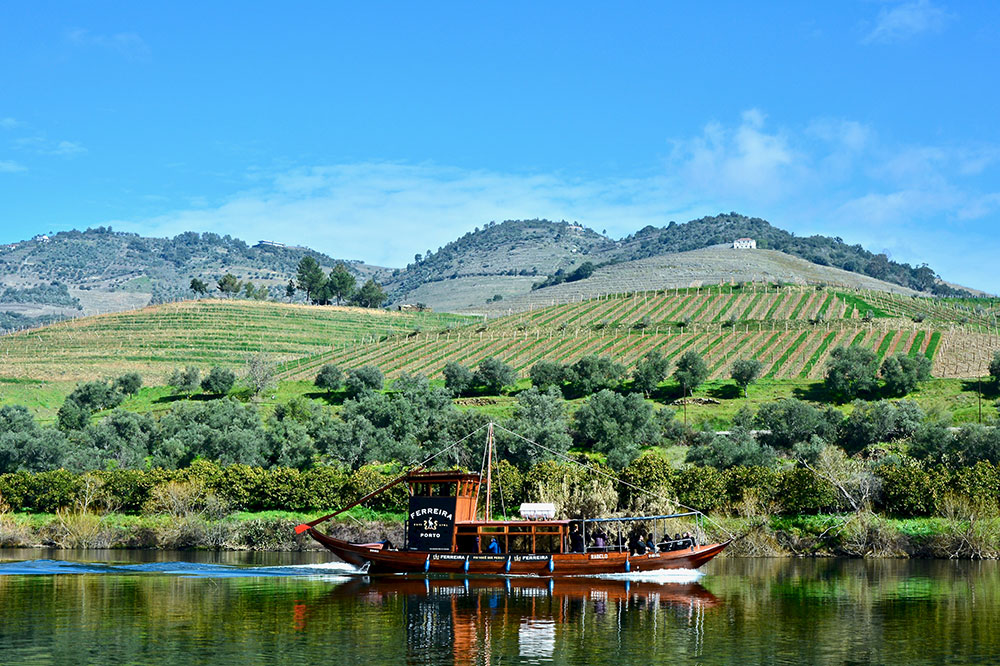 A traditional rabelo boat on the Douro River
