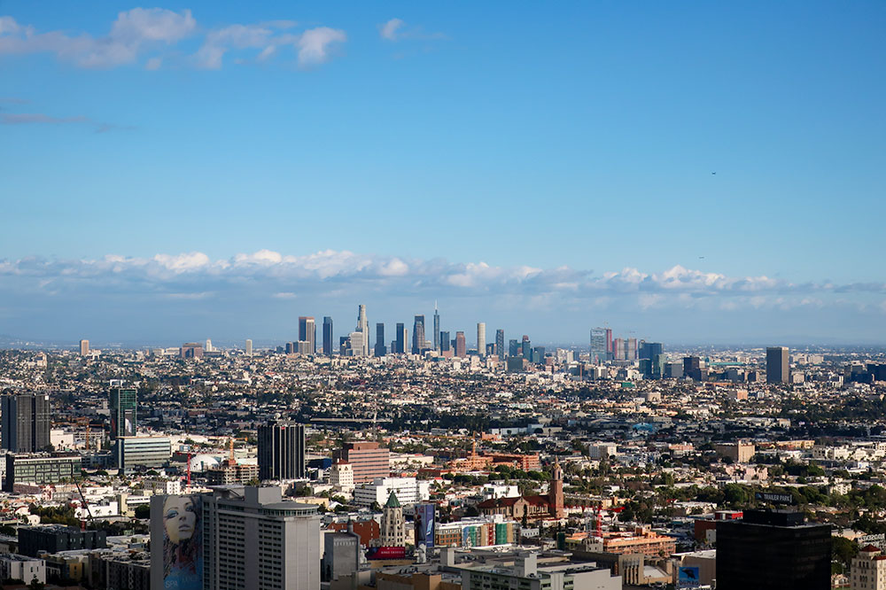 Downtown Los Angeles seen from Inspiration Point at Runyon Canyon Park