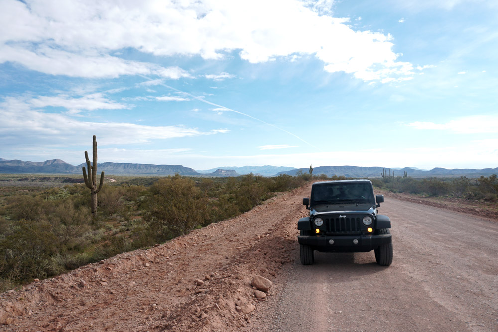 Driving our rented Jeep through the Sonoran Desert