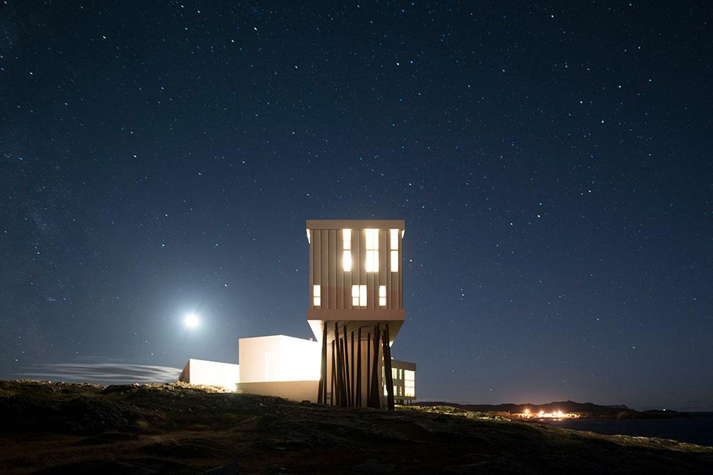Fogo Island Inn with the night sky as a backdrop
