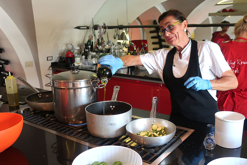 Our instructor and guide, Flaminia, sautéing some zucchini during our class with Fabiolous Cooking Day