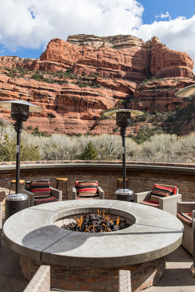 Communal fire pit at Enchantment Resort