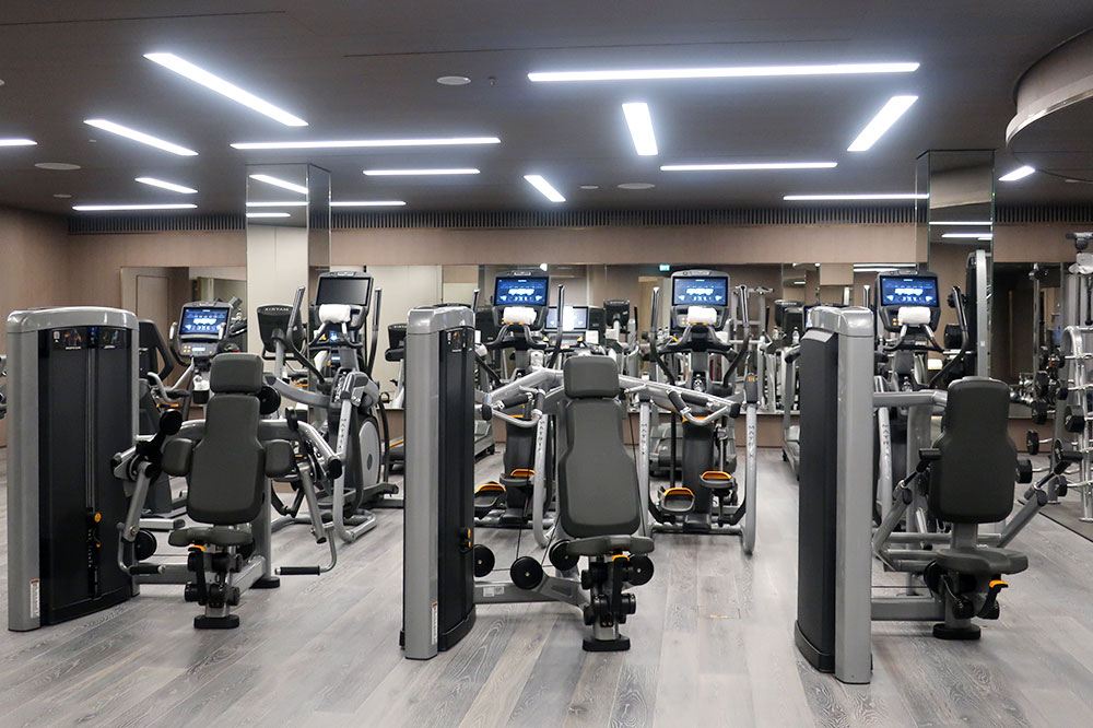 The fitness room at the Four Seasons Hotel London at Ten Trinity Square