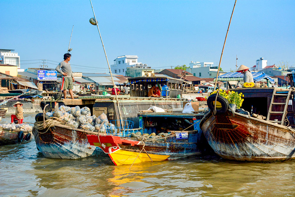 A floating market on the Mekong River