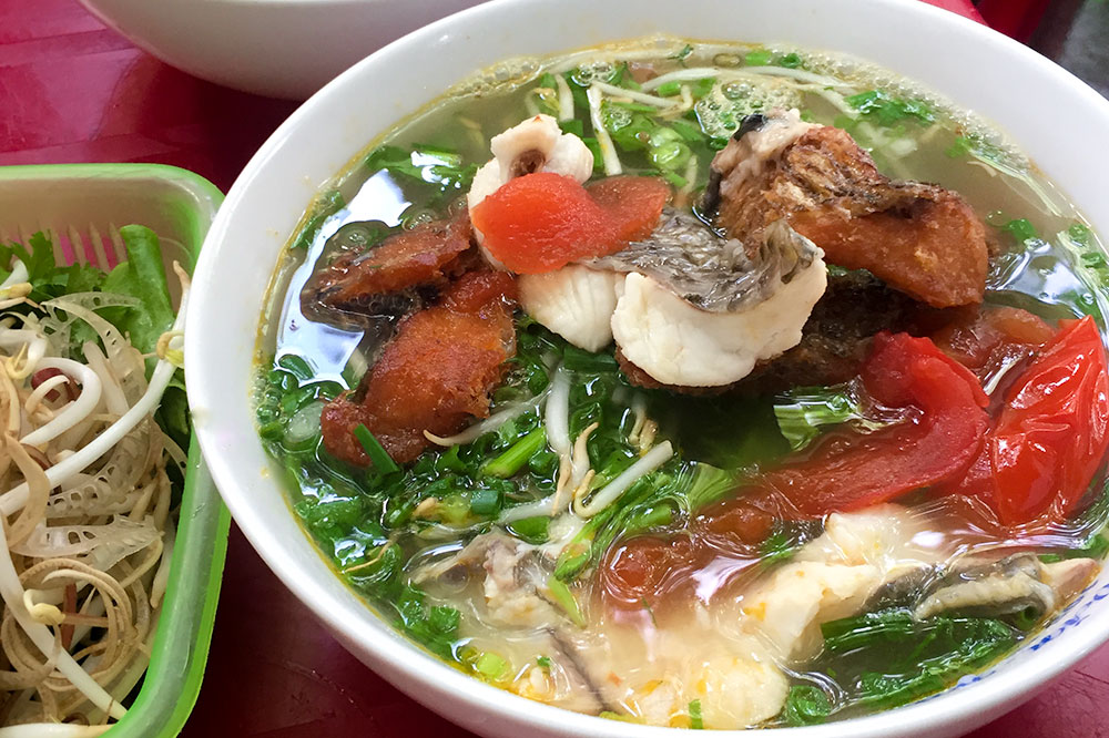 Fried-fish noodle soup from Bún Cá Văn in Hanoi, Vietnam