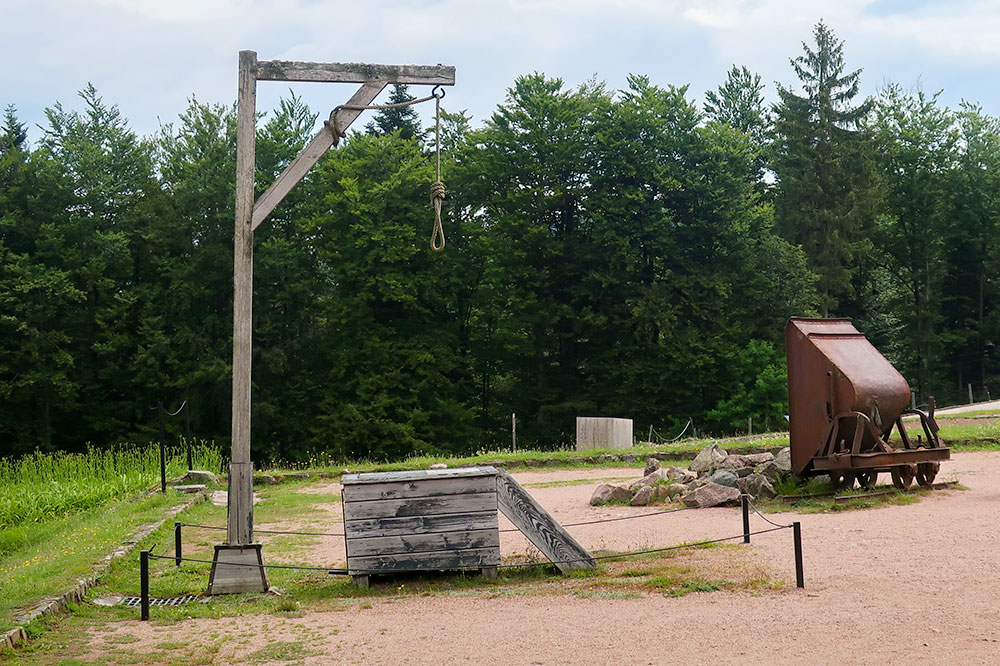 The gallows in the roll-call square at Natzweiler-Struthof