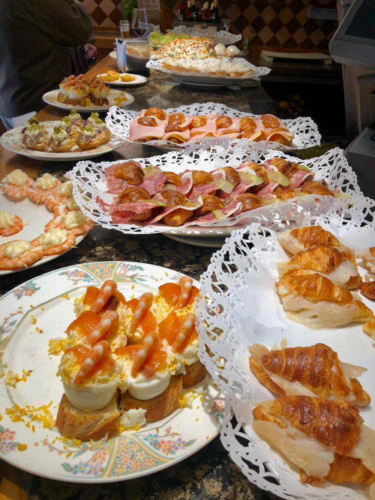 An array of pintxos at Ganbara