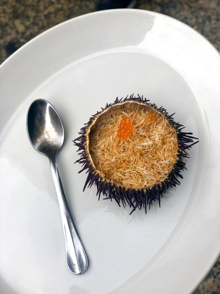 Sea urchin with roe at Gandarias