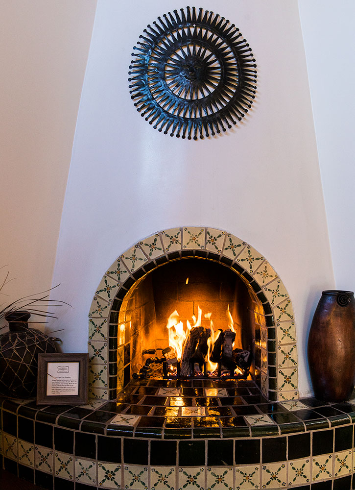The fireplace in our Garden Casita at The Hermosa Inn in Paradise Valley, Arizona - Photo by Hideaway Report editor