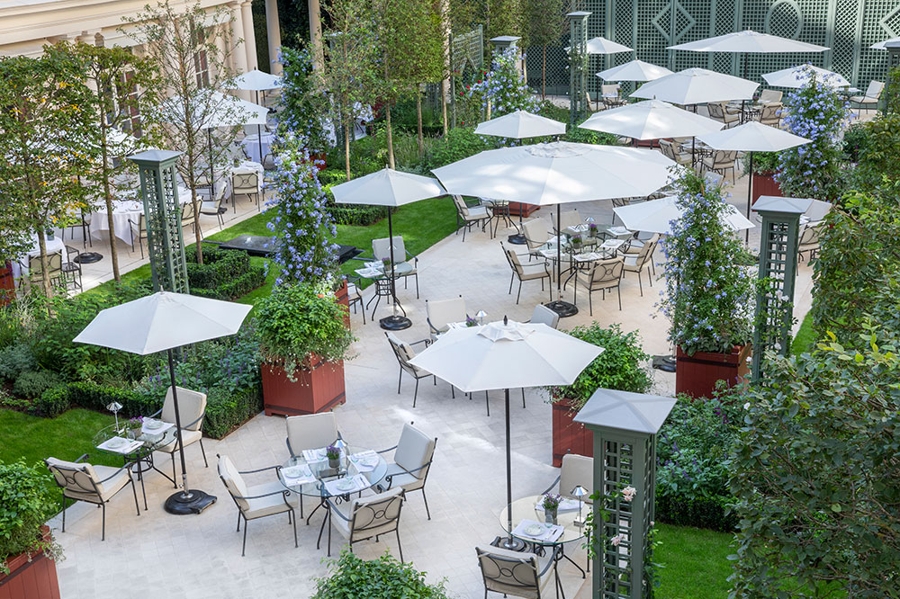 The garden terrace at Le Bristol Paris