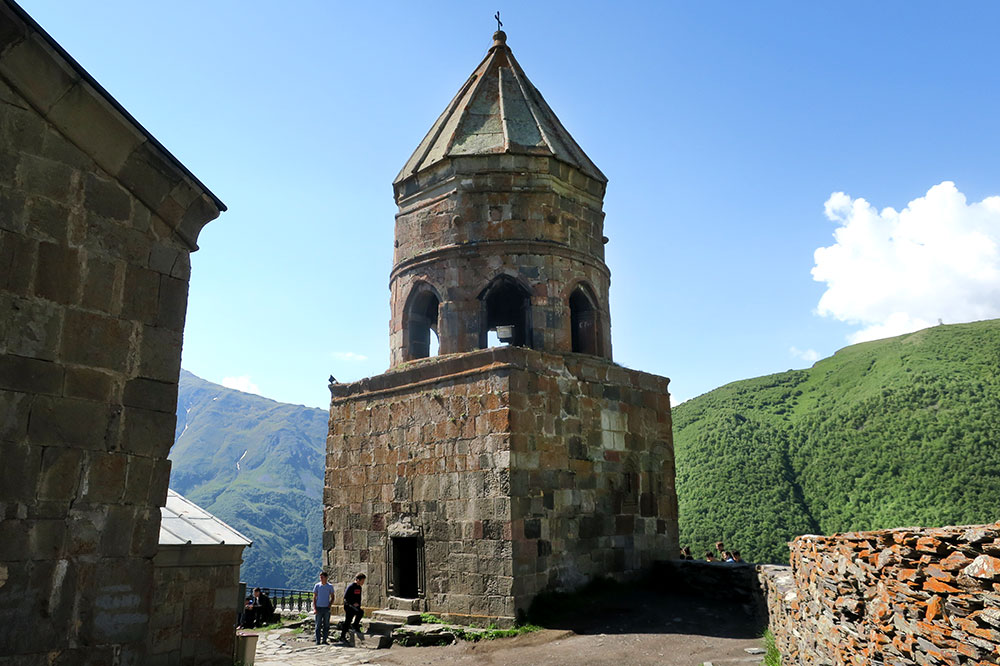 The bell tower at Gergeti Trinity Church