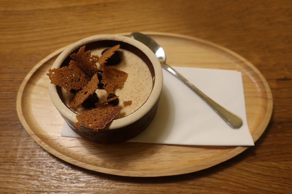 Ginger-cinnamon parfait with plum jam and gingerbread chips at Atelier in Brno