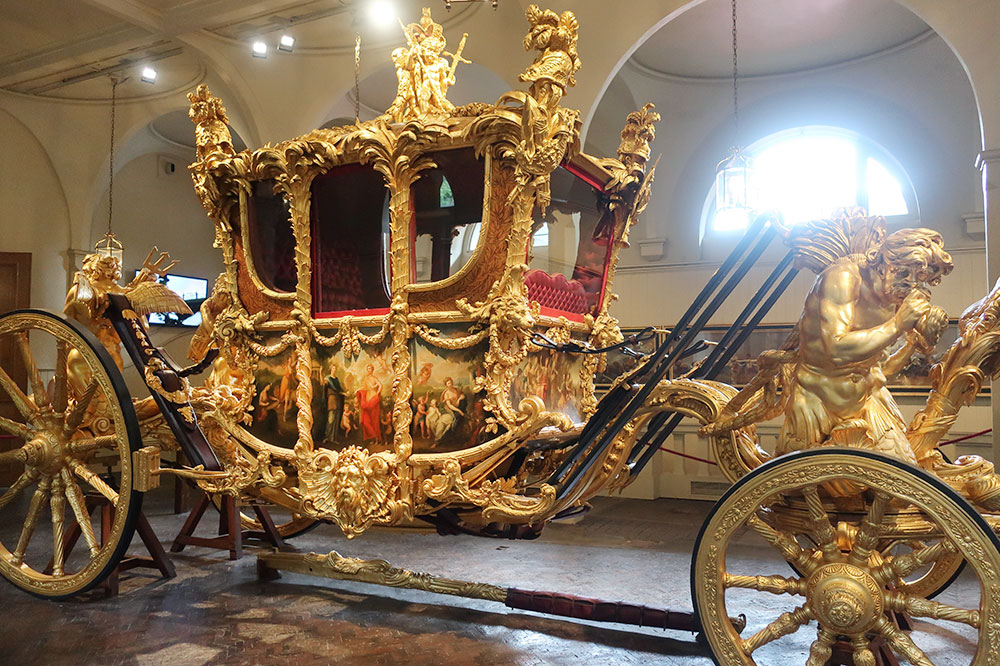 A golden stagecoach at the Royal Mews at Buckingham Palace