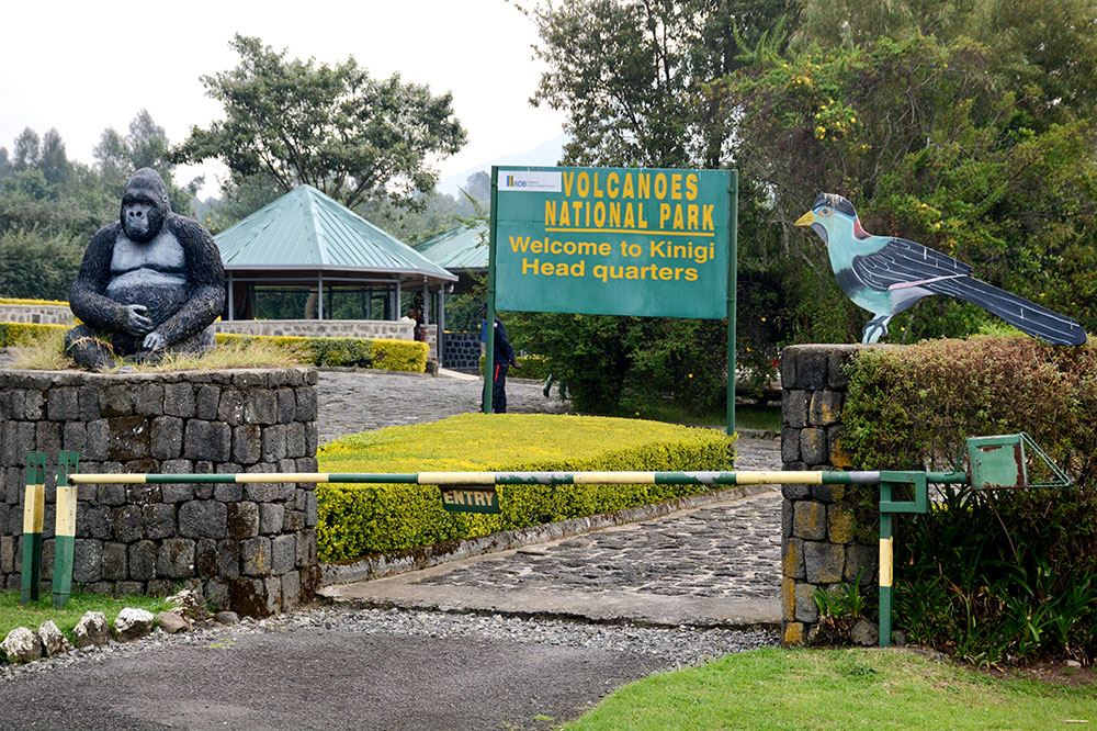 The entrance to Volcanoes National Park in Rwanda