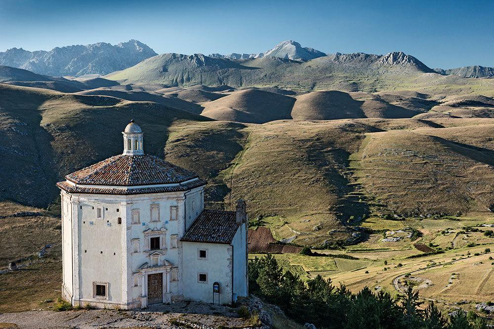 Church of Santa Maria della Pietà, built in the 16th century, in the mountains of Gran Sasso and Monti della Laga National Park in Abruzzo