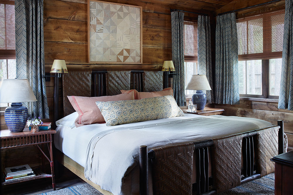 The master bedroom in the Green Drake Cabin at Taylor River Lodge