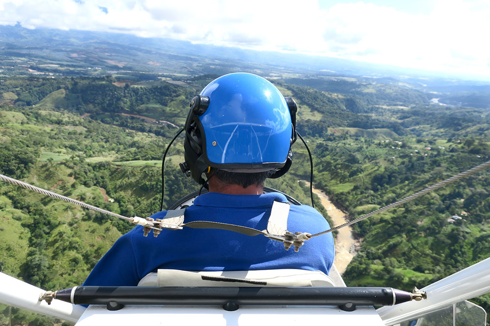The pilot of our ultralight flight at Hacienda AltaGracia in Pérez Zeledón, Costa Rica