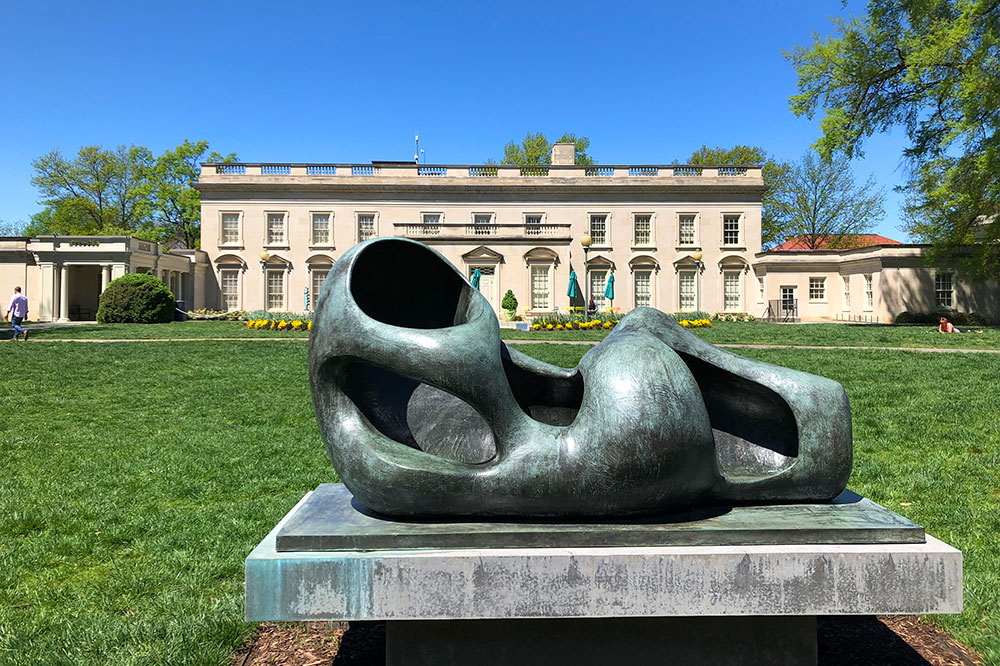 A Henry Moore sculpture, Reclining Figure (Exterior Form), at the Virginia Museum of Fine Arts