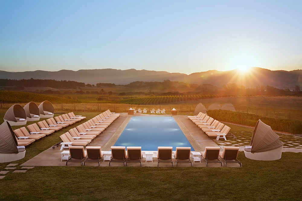 The hilltop pool overlooking vineyards at Carneros Resort and Spa in Napa