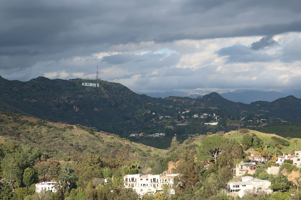 A view of the Hollywood sign from Runyon Canyon Park in Los Angeles