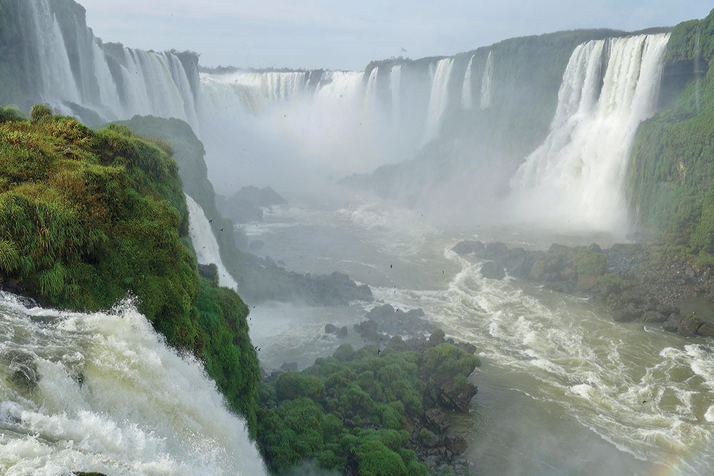 A portion of Iguazú Falls along the Argentina-Brazil border