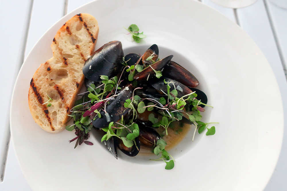 Black mussels in white wine broth with garlic, lemon, fresh herbs and ciabatta at Il Postino restaurant