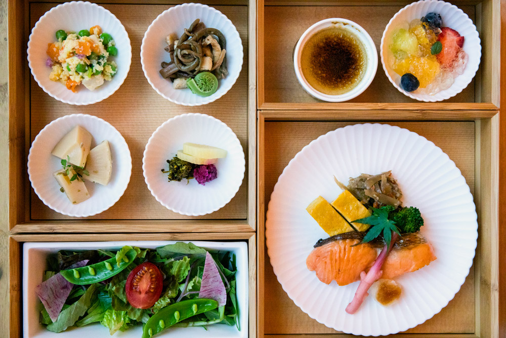 Our Japanese breakfast featuring salmon from Hokkaido
