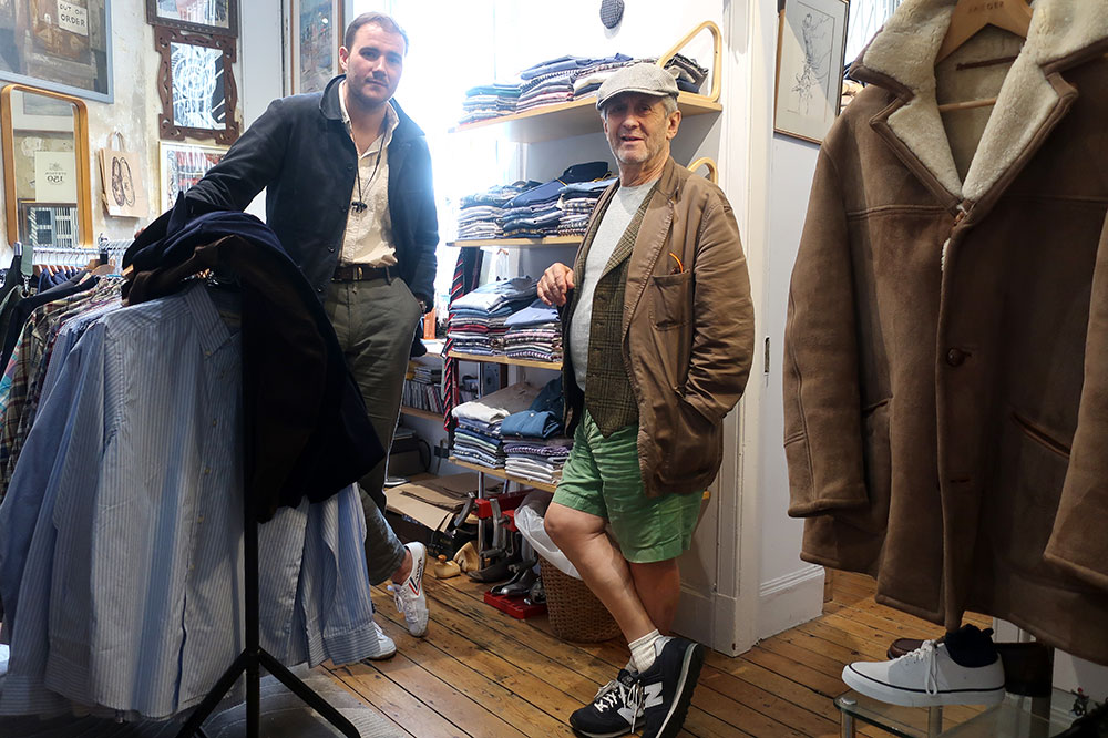 John Simons (right) and an employee in the John Simons shop on Chiltern Street