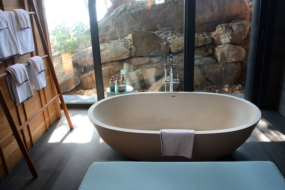 The tub in the bath of our villa at Six Senses Krabey Island