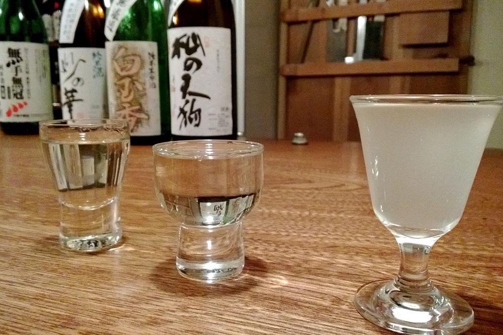 Sake tasting at Sake Bar Yoramu in Kyoto, Japan