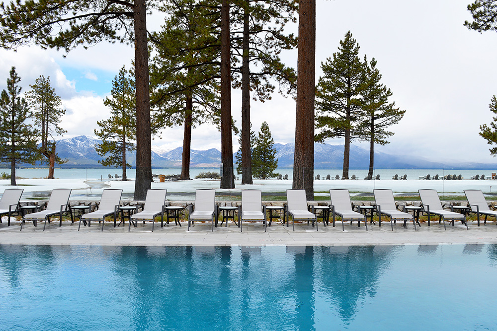 Heated pool at Edgewood Tahoe Resort