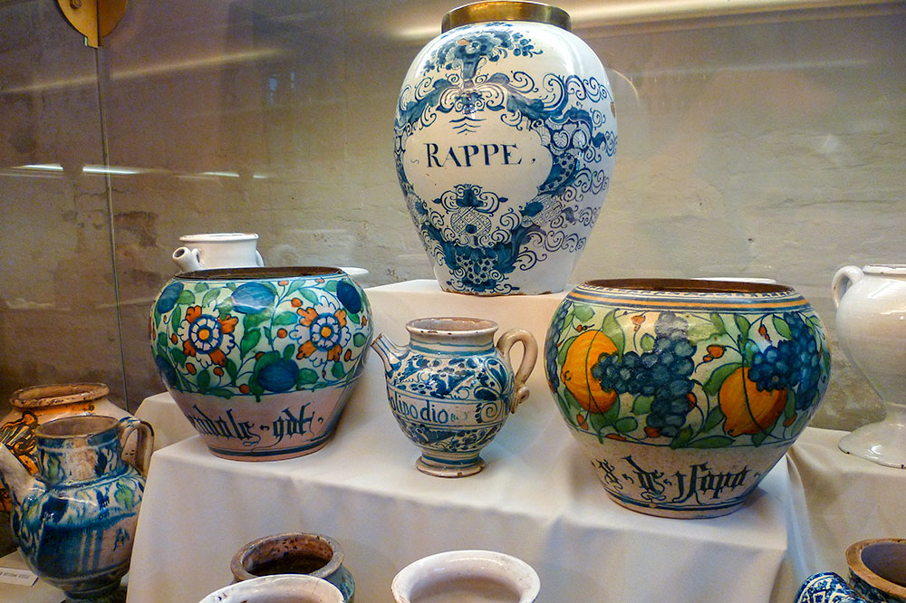 Medicine jars at L'Apothicairerie at the Hotel-Dieu-le-Comte