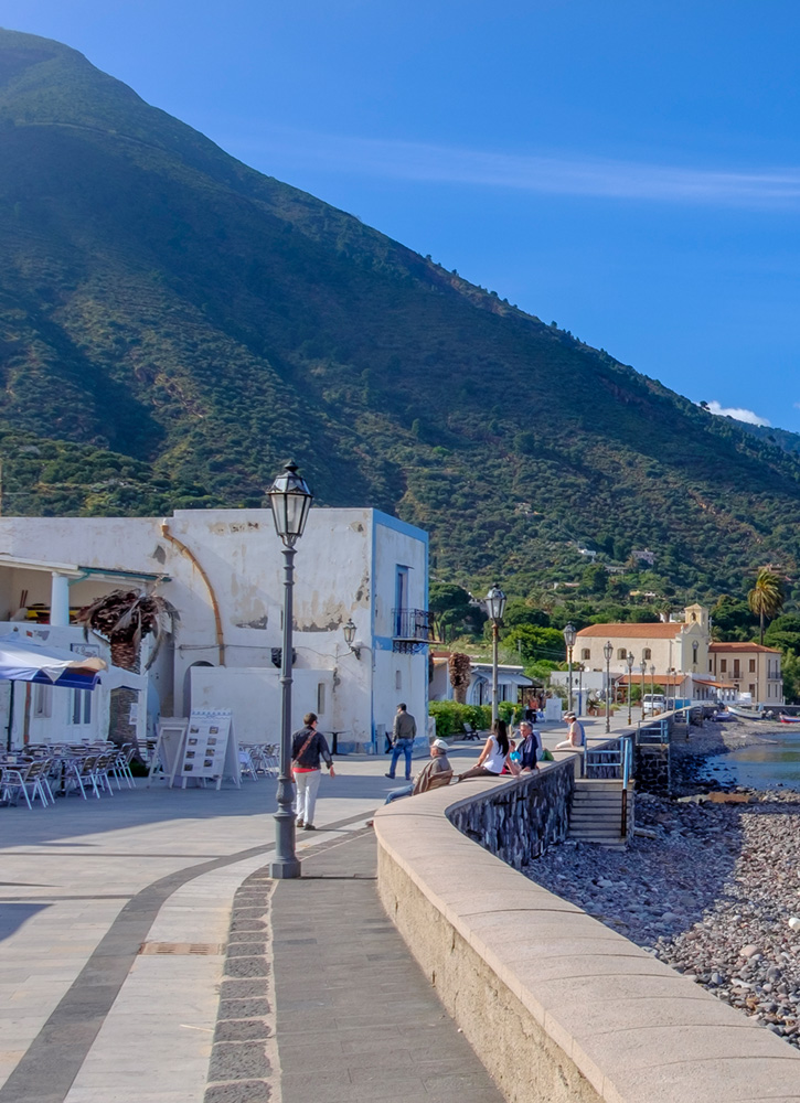 Promenade in Lingua on the island of Salina, Italy