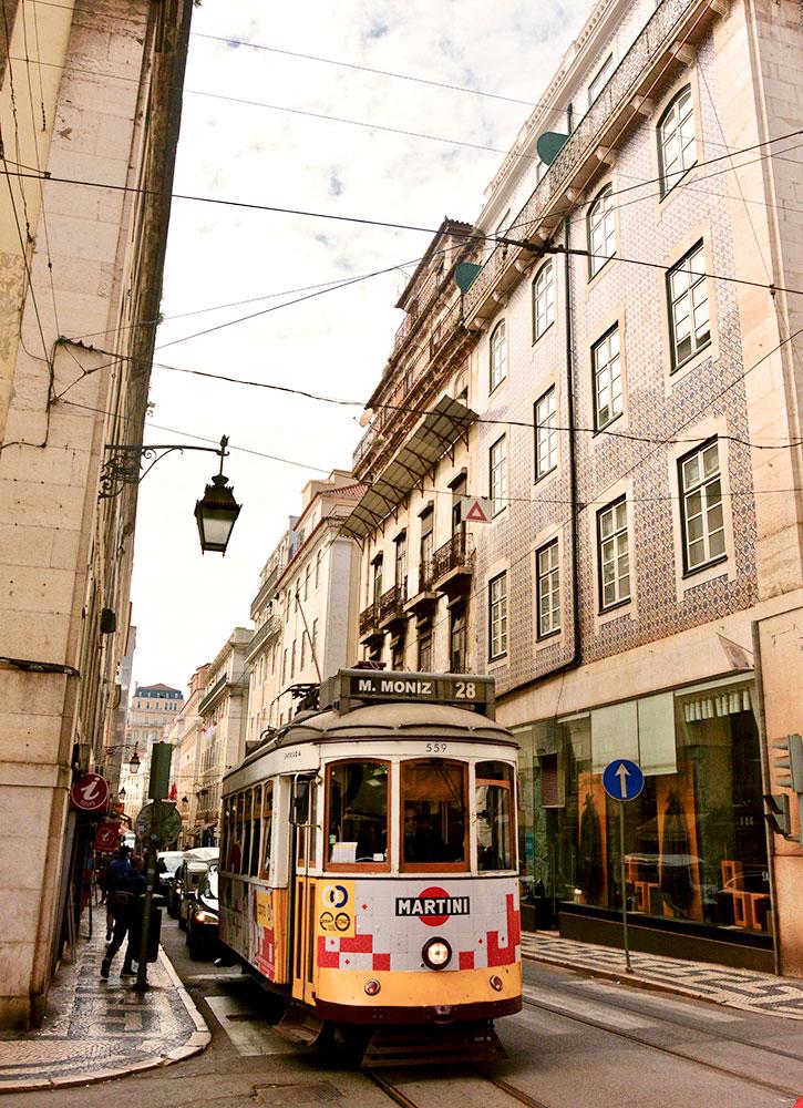 A streetcar in Lisbon