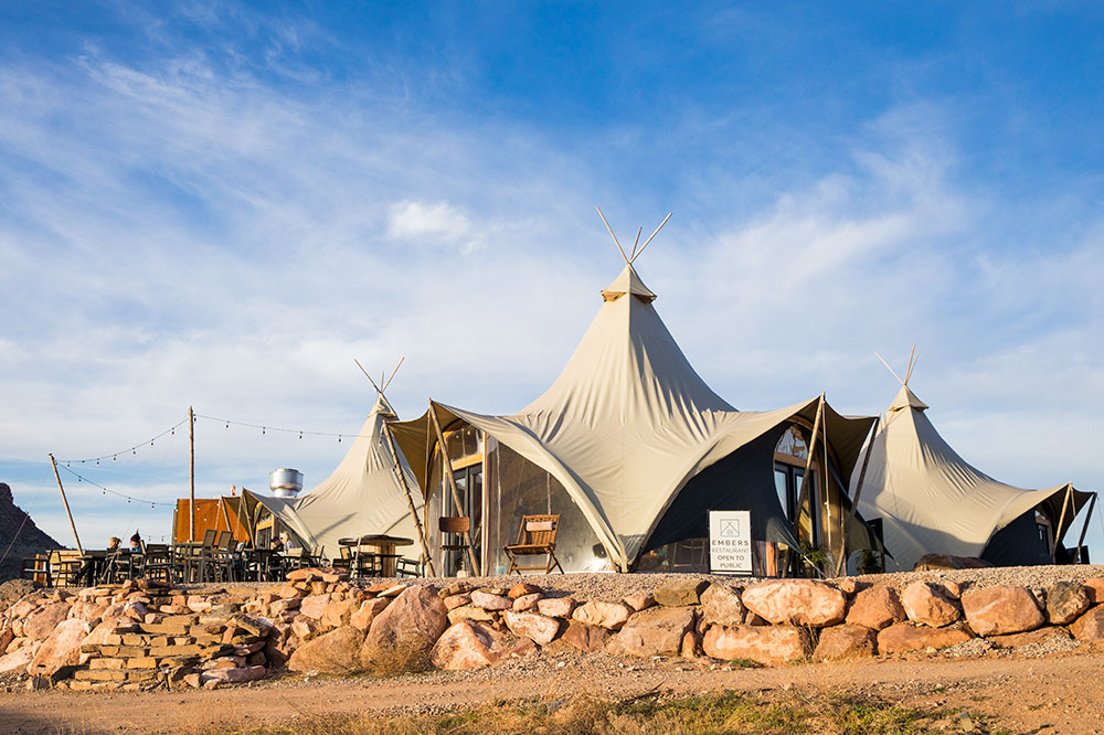 The main lobby tent at Under Canvas Zion