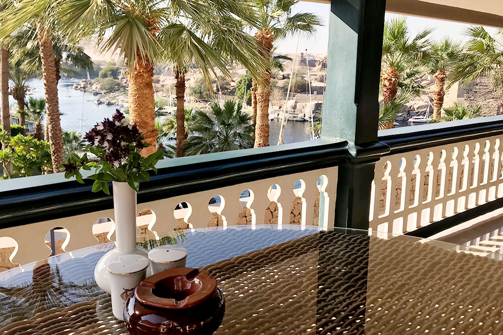 The terrace from the lobby at the Sofitel Legend Old Cataract Aswan  - Photo by Hideaway Report editor
