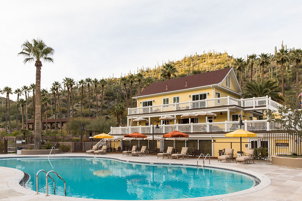 The main lodge and pool at Castle Hot Springs
