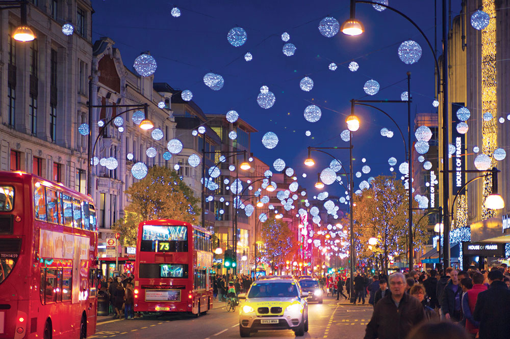 A street in London decorated for the Christmas season