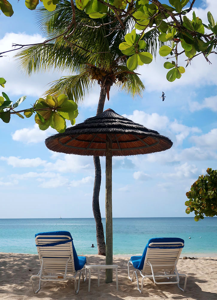 Lounge chairs on the beach at Spice Island Beach Resort