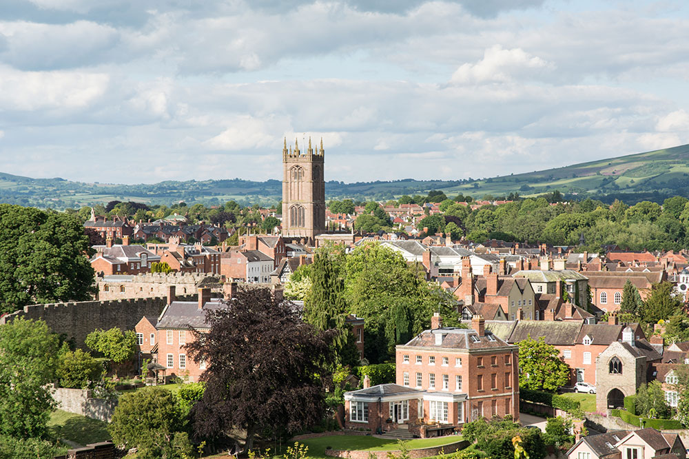 A view over Ludlow, England, with St. Laurence's Church at the center