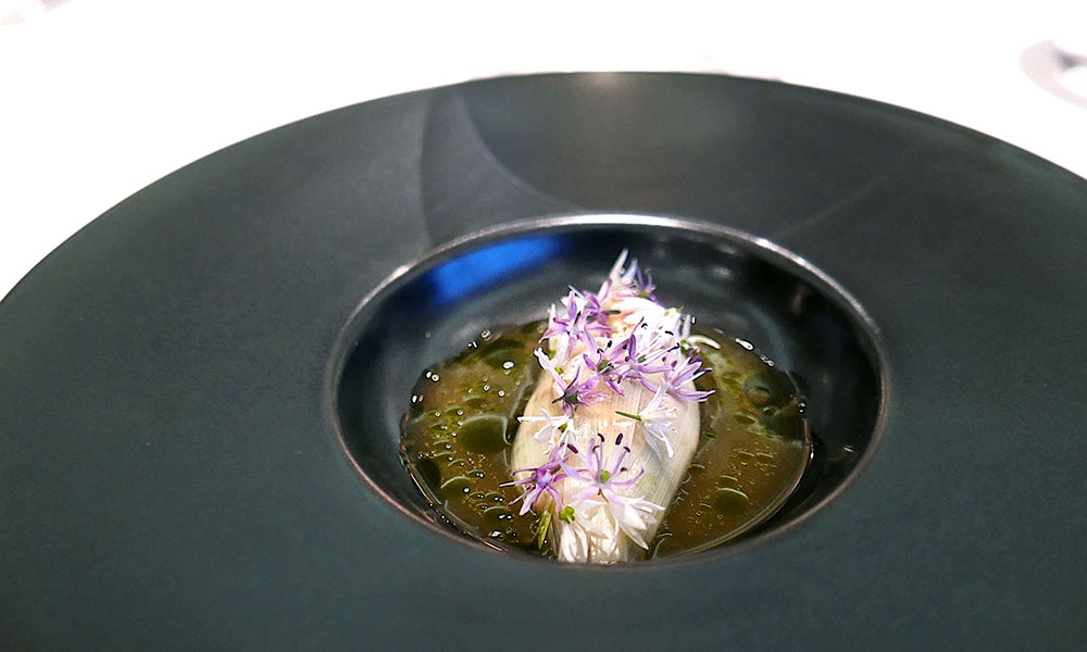 Fermented trout and scallop garum from Maaemo
