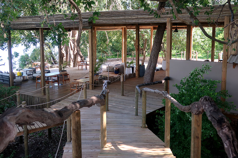 The main lounge at Victoria Falls River Lodge Island Treehouses