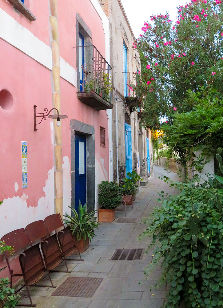 Street in Malfa, on the island of Salina, Italy